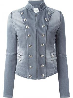 Джинсовая куртка в стиле милитари Pierre Balmain. Цвет: серый