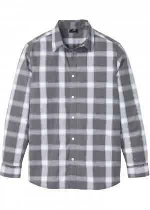 Рубашка с длинным рукавом bonprix. Цвет: серый