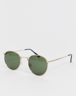Круглые солнцезащитные очки eco friendly-Золотой Selected Homme