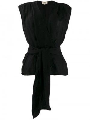 LAgence блузка с поясом на завязках L'Agence. Цвет: черный