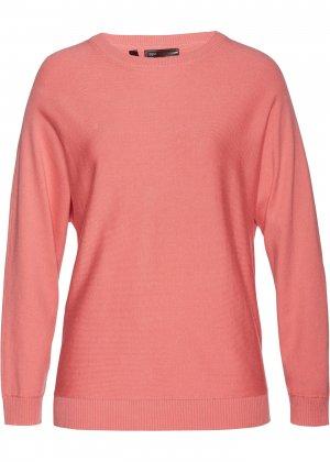 Пуловер с рукавом летучая мышь bonprix. Цвет: розовый