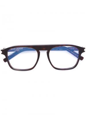 Очки в квадратной оправе Saint Laurent Eyewear. Цвет: коричневый