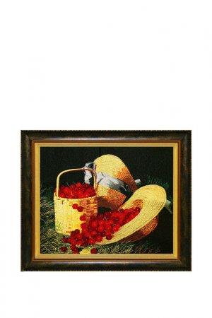 Картина На солнечной поляне Живой шелк. Цвет: красный, желтый, зеленый