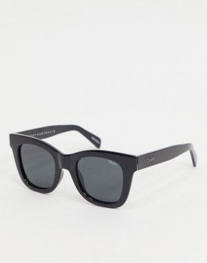 Черные солнцезащитные очки в большой квадратной оправе -Черный Quay Australia