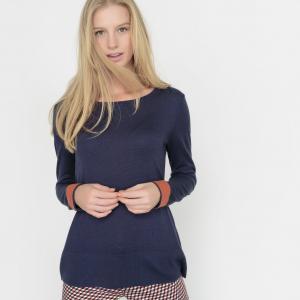 Пуловер двухцветный, шерсть в составе La Redoute Collections. Цвет: серый меланж