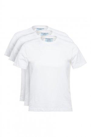Набор из трех белых футболок Prada. Цвет: белый