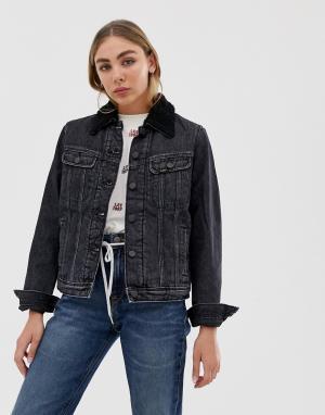 Джинсовая куртка с воротником из искусственного меха Lee Rider Jeans. Цвет: черный
