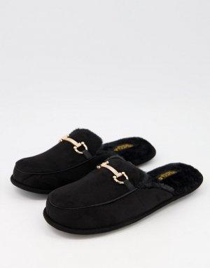 Черные слиперы-мюли с отделкой трензелем -Черный цвет Truffle Collection