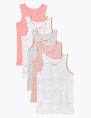 Комплект хлопковых маек в горошек (5 шт.) Marks & Spencer. Цвет: розовый микс