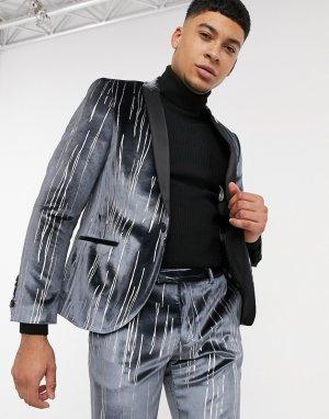 Бархатный костюмный пиджак с атласными лацканами черного цвета серебристыми полосами -Серый Twisted Tailor