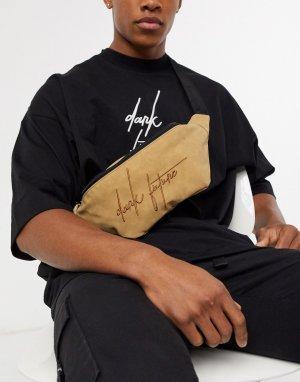 Коричневая сумка-кошелек на пояс из искусственной замши с логотипом dark future ASOS DESIGN-Neutral