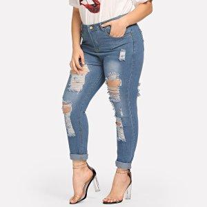 Большие полотняные джинсы SHEIN. Цвет: синий