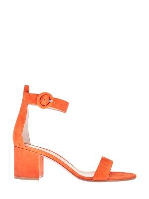 Замшевые босоножки Versilia на устойчивом каблуке GIANVITO ROSSI. Цвет: оранжевый