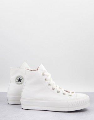 Белые высокие кеды с цветочным узором внутри Chuck Taylor-Белый Converse