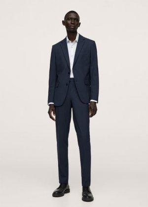 Костюмный пиджак slim fit из шерсти - Breda Mango. Цвет: темно-синий