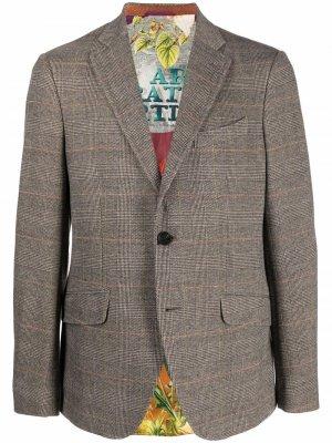 Однобортный пиджак в клетку ETRO. Цвет: коричневый