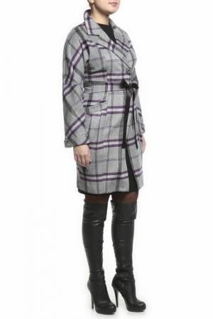 Пальто Klimini. Цвет: серый, фиолетовый
