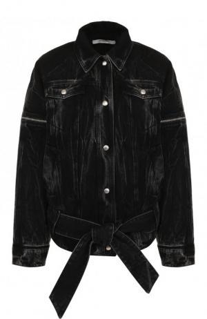 Джинсовая куртка свободного кроя с потертостями Givenchy. Цвет: черный