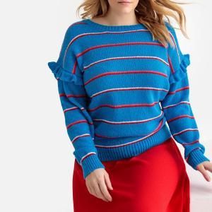 Пуловер в полоску с воланами на рукавах CASTALUNA. Цвет: в полоску синий + белый