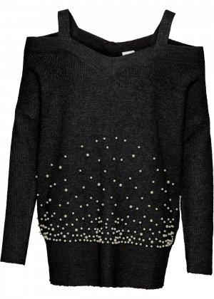 Пуловер с бусинами и вырезами bonprix. Цвет: черный