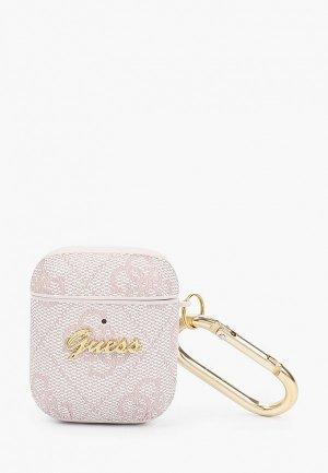 Чехол для наушников Guess Airpods, PU 4G case with metal logo and carabiner Pink. Цвет: розовый