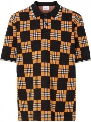 Рубашка поло в клетку Burberry. Цвет: оранжевый