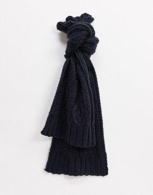 Вязаный шарф с узором «косы», комбинируется другими вещами коллекции -Серый French Connection