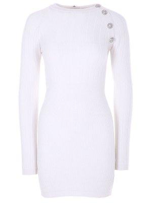 Платье-футляр шерстяное Balmain. Цвет: белый
