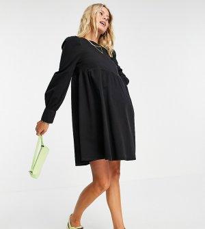 Черное платье из мягкого выбеленного денима с присборенной юбкой и объемными рукавами ASOS DESIGN Maternity-Черный Maternity