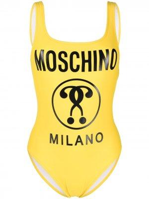 Купальник с открытой спиной и логотипом Moschino. Цвет: желтый