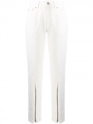 Zip front tapered leg trousers MM6 Maison Margiela. Цвет: белый
