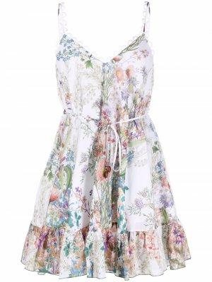 Платье с завязками и цветочным принтом Charo Ruiz Ibiza. Цвет: белый