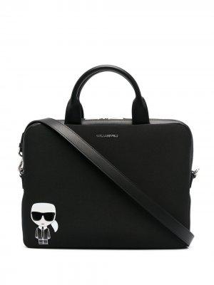 Сумка для ноутбука с принтом Ikonik Karl Lagerfeld. Цвет: черный
