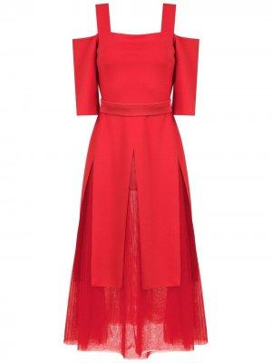 Платье с открытыми плечами Gloria Coelho. Цвет: красный