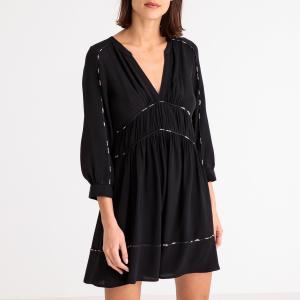 Платье короткое струящееся FRANNY BA&SH. Цвет: телесный,черный