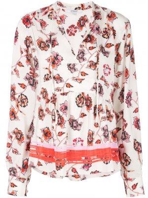 Блузка с расклешенным подолом и цветочным принтом Derek Lam 10 Crosby. Цвет: белый