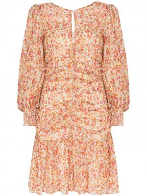 Платье мини с цветочным принтом и сборками byTiMo. Цвет: оранжевый