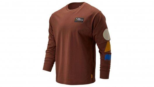 Футболки с длинным рукавом MENS 100%COTTON KNITTED T-SHIRT New Balance. Цвет: коричневый