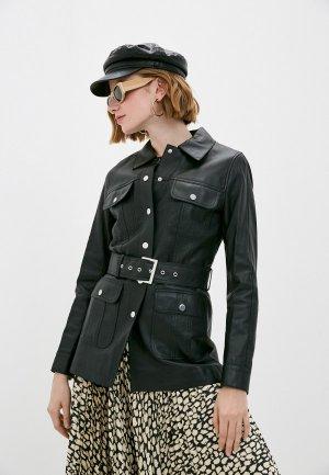Куртка кожаная Снежная Королева. Цвет: черный