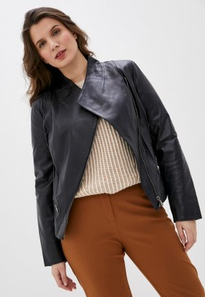 Куртка кожаная Le Monique TR1502/1SS17. Цвет: синий