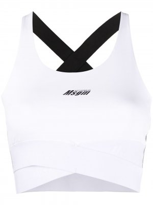 Топ без рукавов с логотипом MSGM. Цвет: белый