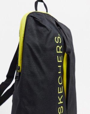 Черный рюкзак с логотипом и молнией Skechers