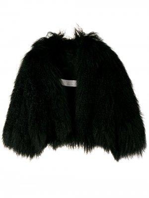 Укороченная шуба из шерсти ягненка 2002-го года LANVIN Pre-Owned. Цвет: черный