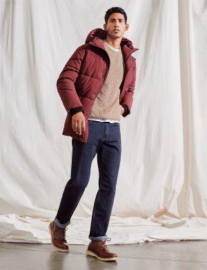 Пальто пуховик с капюшоном и отделкой rmowarmth ™ M&S Collection. Цвет: бургунди