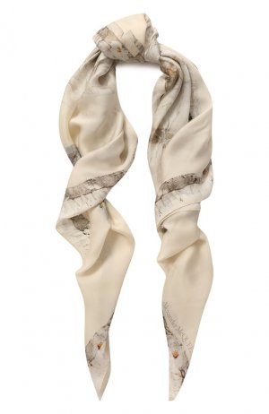 Шелковая шаль Alexander McQueen. Цвет: кремовый