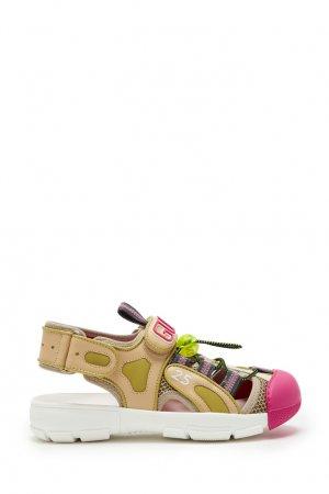 Комбинированные сандалии-сникеры Gucci. Цвет: коричневый