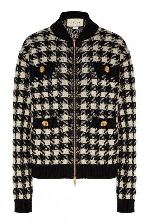 Куртка-бомбер из шерсти Gucci. Цвет: черно-белый