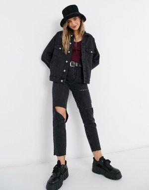 Черная джинсовая куртка в стиле oversized -Черный цвет Cotton:On