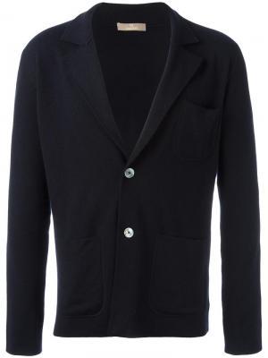 Вязаный пиджак с накладными карманами Cruciani. Цвет: синий