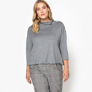 Пуловер с воротником-стойкой и пуговицами на плече CASTALUNA. Цвет: красный,темно-серый меланж